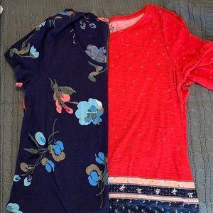 2 size Large LOFT floral  tshirts